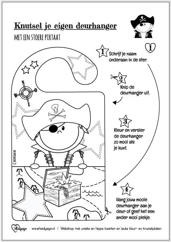 Diy Kleurplaat Deurhanger Met Piraat In 2020 Piraat Knutselen Piraten Deurhanger