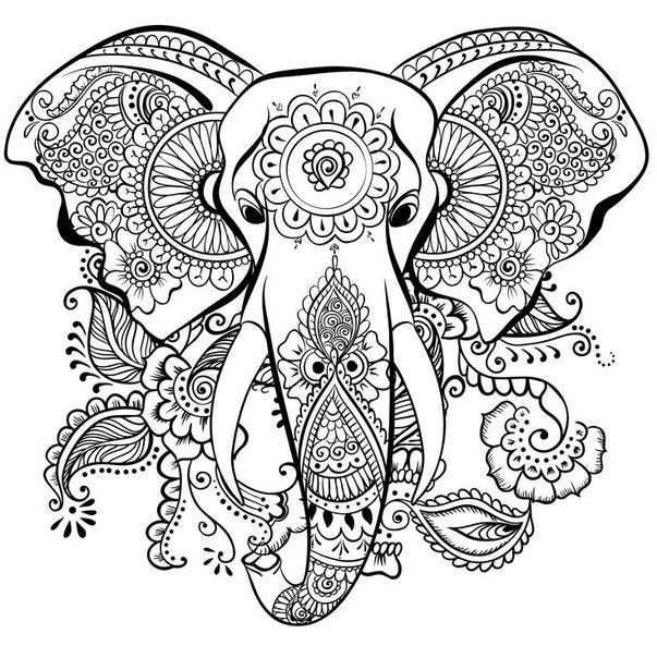 Raskraski So Slonami Slabyj Pol Elephant Coloring Page Mandala Coloring Pages Animal
