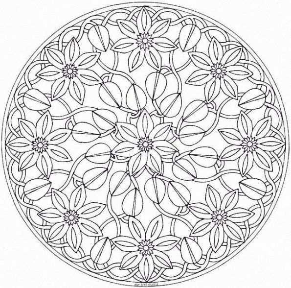 Bloemrijke Mandala Flowered Mandala Mandala Kleurplaten Kleurplaten Mandala