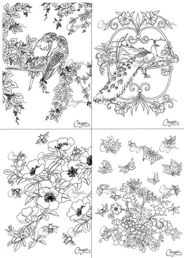 Masja S Nature Romance Coloring Book Kleurboek Kleurplaten Schetsboek