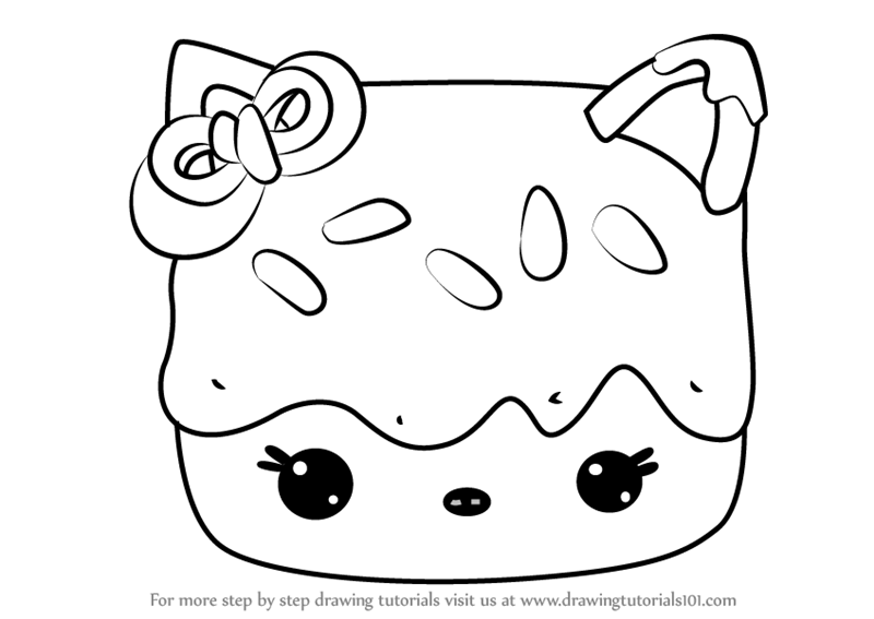 Learn How To Draw Cocoa Mallow From Num Noms Num Noms Step By Step Drawing Tutorials Hello Kitty Drawing Drawings Cute Coloring Pages