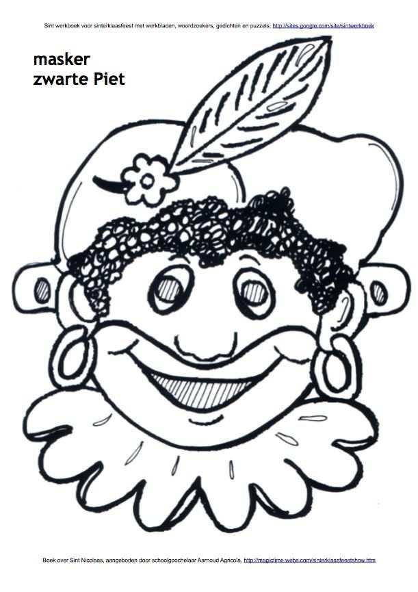 Masker Van Zwarte Piet Kleurplaat Disney Characters Piet Art