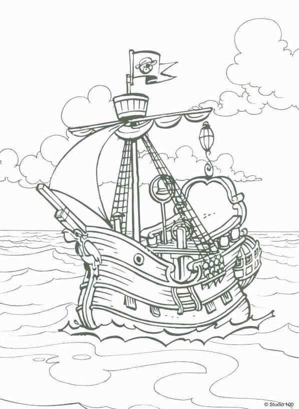 Kids N Fun Kleurplaat Piet Piraat Het Piratenschip Piratenschip Piraten Kleurrijke Tekeningen