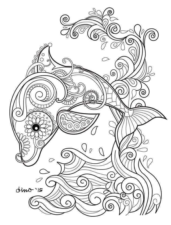 Dolfijn Zen Mandala Kleurplaten Dieren Kleurplaten Kleurboek