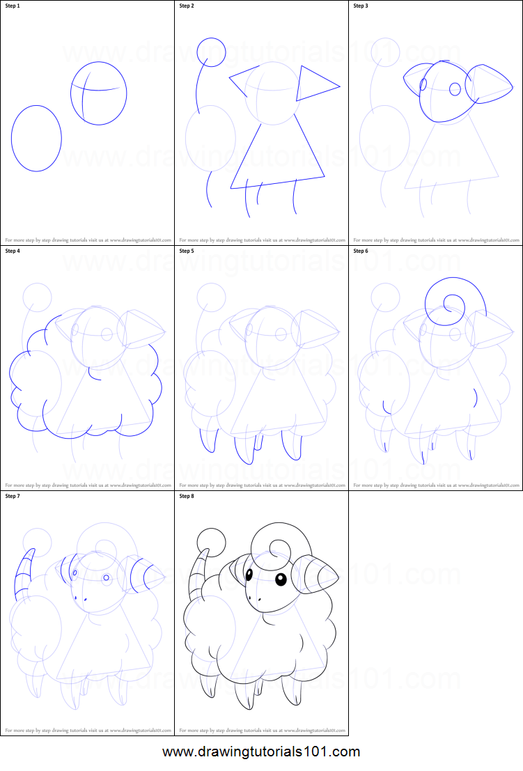 How To Draw Mareep From Pokemon Printable Drawing Sheet By Drawingtutorials101 Com Easy Pokemon Drawings Drawing Sheet Easy Drawings