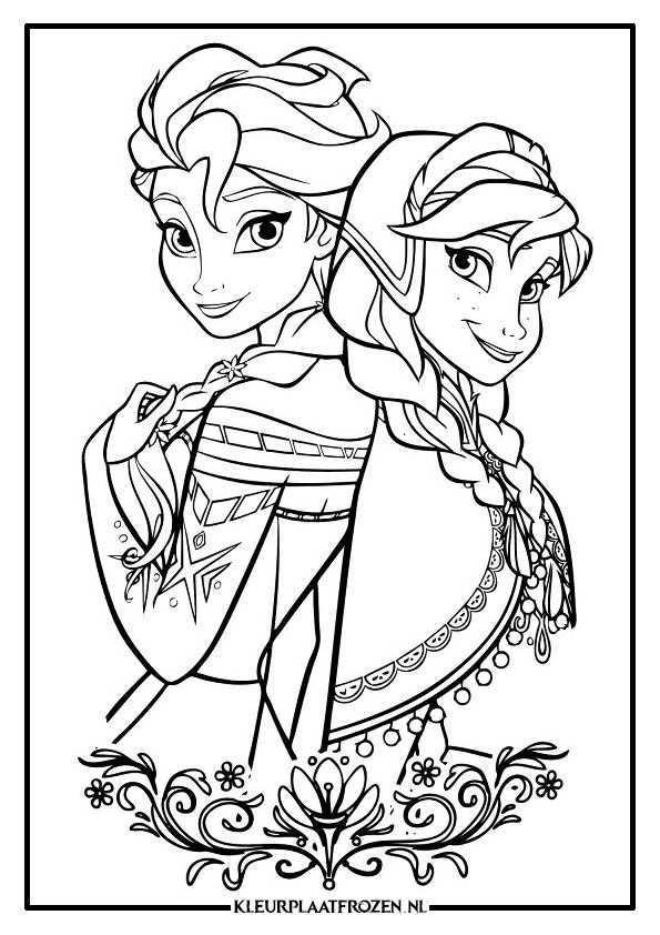 Elsa En Ana Kleurplaat Frozen Kleurplaten Boek Bladzijden Kleuren Kleurplaten