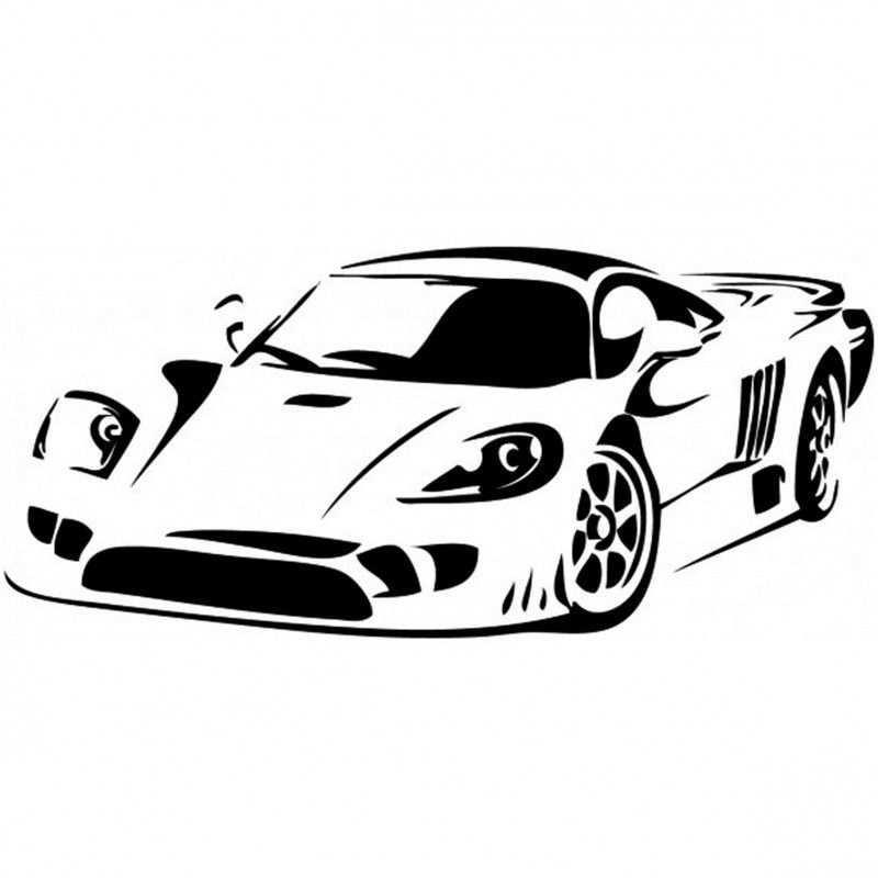 Raceauto Raceauto Zwart Wit Silhouet