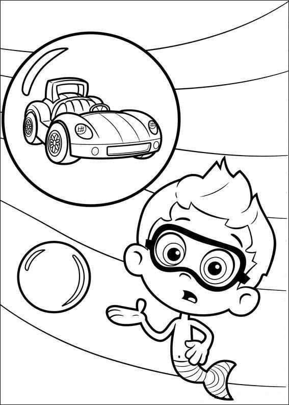 Kids N Fun Kleurplaat Bubble Guppies Nonny En Raceauto Kleurplaten Bubbel Guppies Kleurplaten Voor Kinderen