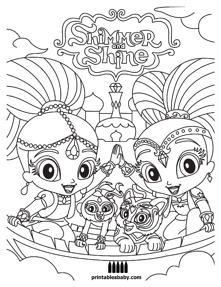 Shimmer And Shine Printables Baby Coloring Books Coloring Pages Spongebob Coloring