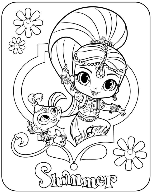 Shimmer And Shine Coloring Pages Monkey Coloring Pages Coloring Pages Cartoon Coloring Pages