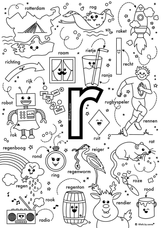 R Woorden Kleurplaat Letterherkenning Spelletjes Alfabet Boek Kleuterschool Taal