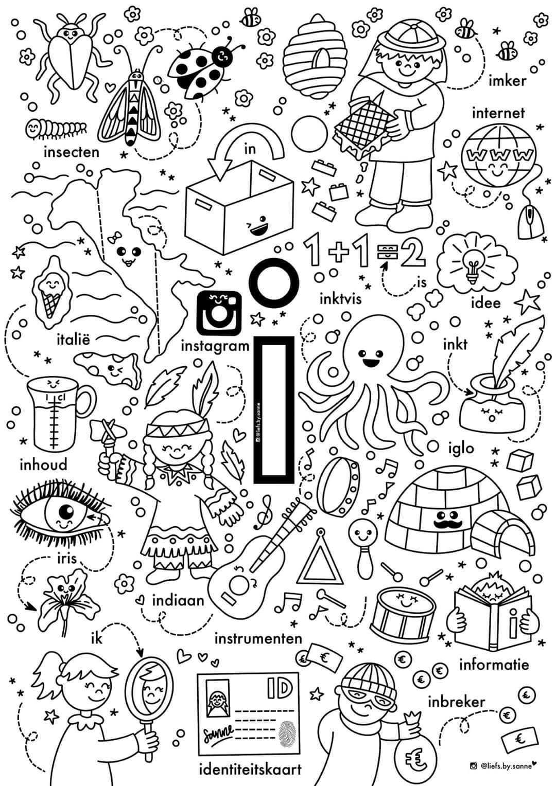 I Woorden Kleurplaat Letterherkenning Spelletjes Letterherkenning Alfabet Kleurplaten