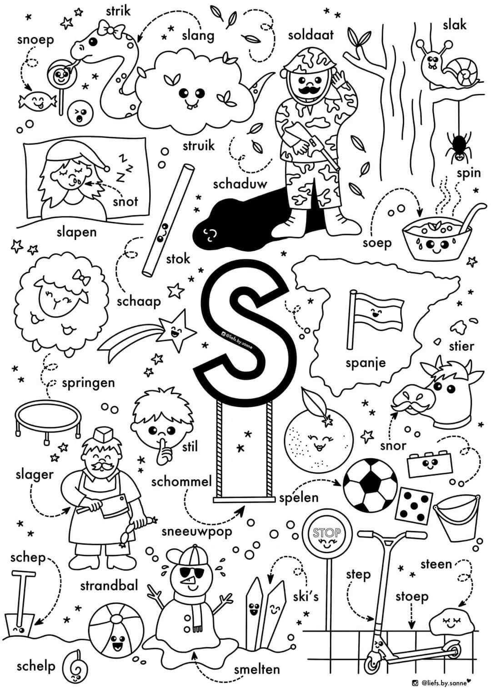 S Woorden Kleurplaat Letterherkenning Spelletjes Alfabet Boek Alfabet Kleurplaten