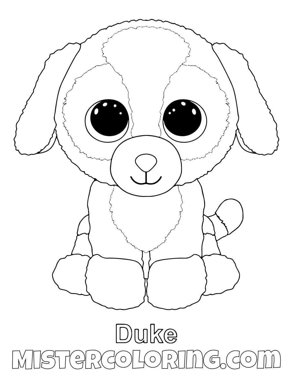 Duke Beanie Boo Coloring Pages For Kids Dog Coloring Page Beanie Boo Birthdays Baby Coloring Pages