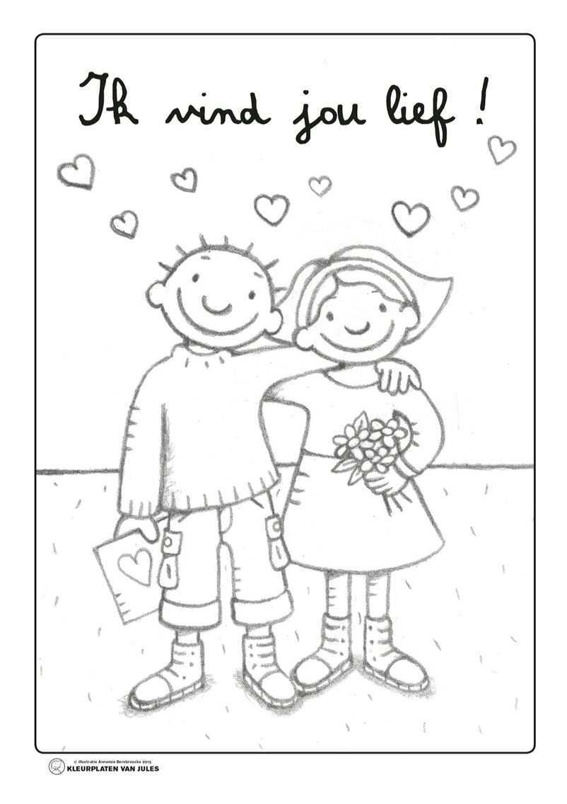 Kleurplaat Jules Valentijn Moederdagideeen Bloem Kleurplaten Valentijnideeen