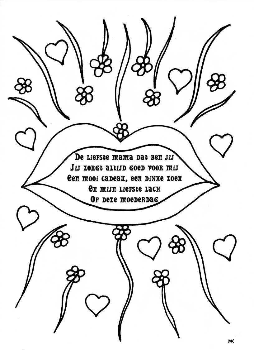 Kleurplaat Hart Valentijn Moederdag Vaderdag Moederdag Vaderdag Kleurplaten