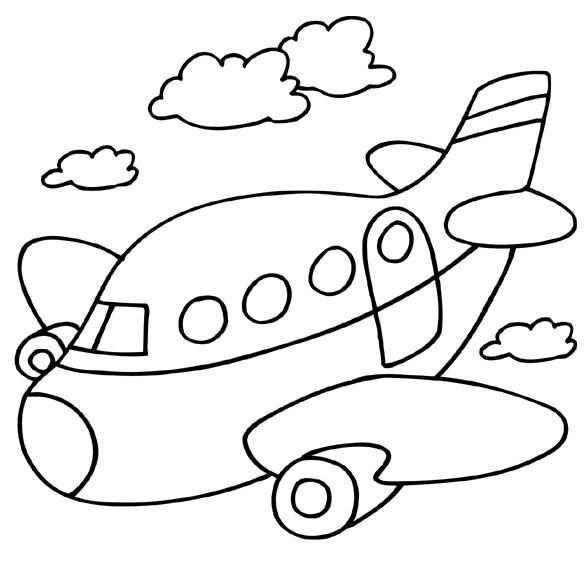 Kleurplaat Vervoer Vliegtuig Kinderkleurplaten Kind Tekening Boek Bladzijden Kleuren
