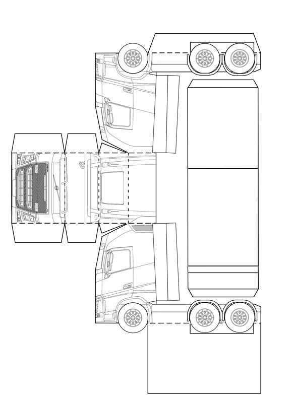Bouwplaat Papercraft Volvo Fh Paper Crafting Papieren Modellen Kamperen Met Kinderen