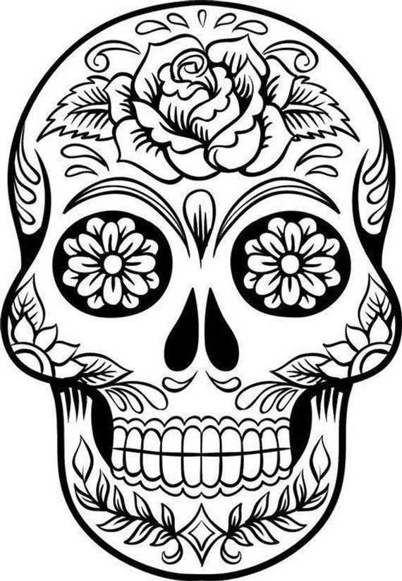 Sugar Skull Svg File Digital Download Skull Coloring Pages Sugar Skull Stencil Skull Stencil