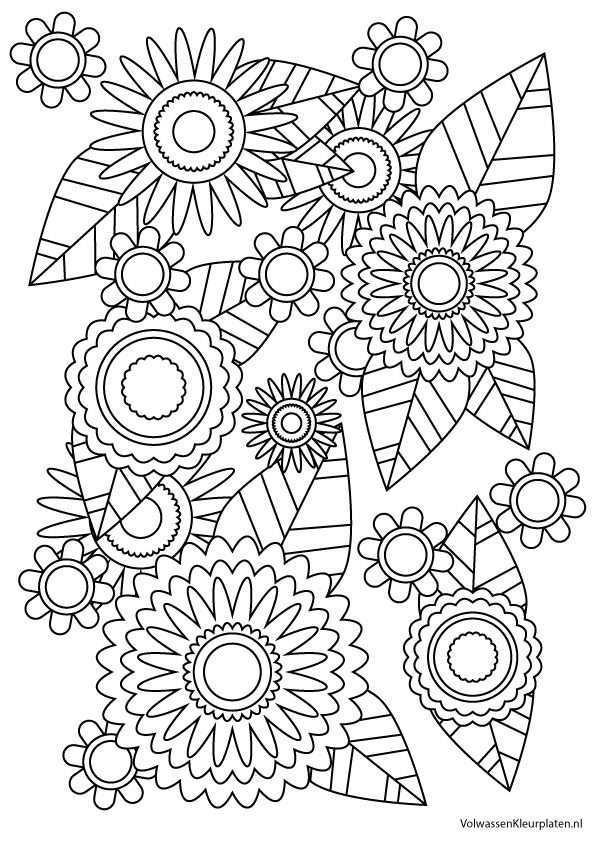 Volwassen Kleurplaat Bloem 2 Volwassen Kleurplaten Kleurplaten Mandala Kleurplaten Bloemen