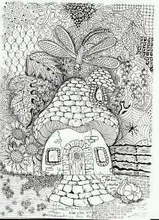 Efie Goes Zentangle Art Tangle Club 95 Herfst Zentangle Patronen Kleurboek Kleurrijke Tekeningen