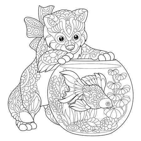 Kleurplaat Van Kitten Af Over Goudvis In Het Aquarium Schets Uit De Vrije Hand Tekenen Voor Volwassen Antistress Kleurboek Met Doodle En Zentangle Elementen Dieren Kleurplaten Kleurplaten Voor Volwassenen Mandala Kleurplaten