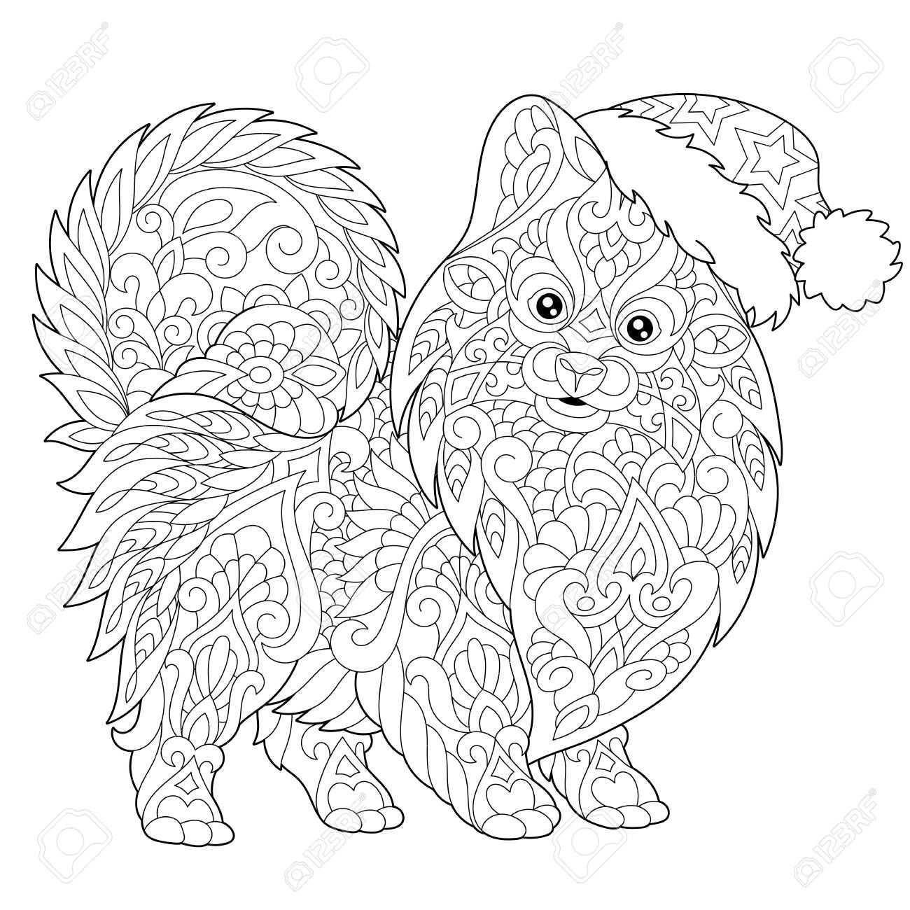 Kleurplaat Van Pommeren Honden Symbool Van 2018 Chinees Nieuwjaar Schets Tekening Uit De Vrije Hand Voor Merry Christmas Wenskaart Of Volwassen Antistress Kle Kleurboek Kleurplaten Dieren Kleurplaten