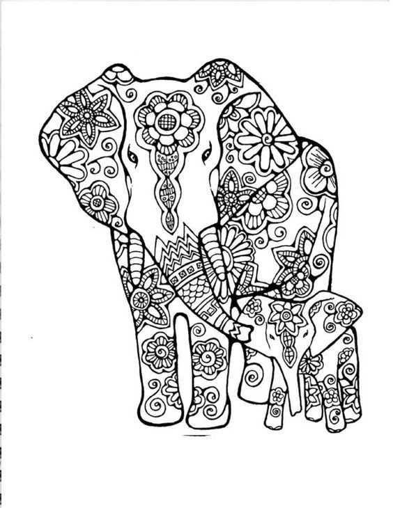 Elephante Et Son Petit Kleurboek Dieren Kleurplaten Olifant Tekening