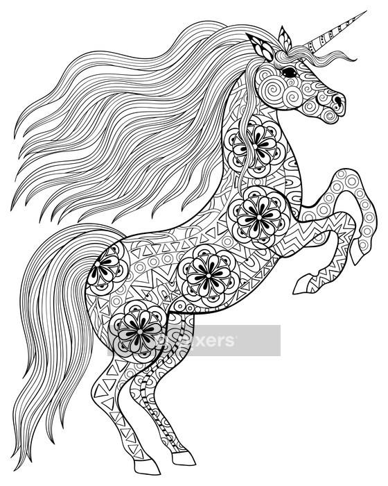 Muursticker Getrokken Magic Unicorn Voor Volwassen Anti Dieren Kleurplaten Kleurplaten Handen Tekenen