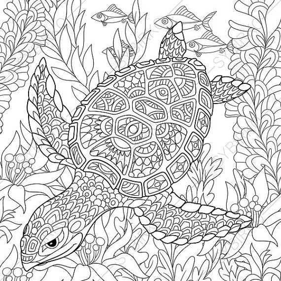 Coloring Pages For Adults Digital Coloring Page Turtle Sea Etsy Turtle Coloring Pages Animal Coloring Pages Animal Coloring Books