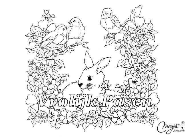 De Kleurplaat Zegt Het Al Vrolijk Pasen Zorgen Jullie Voor Vrolijke Paaskleuren Veel Plezier Kleurplaten Pasen Paaseieren