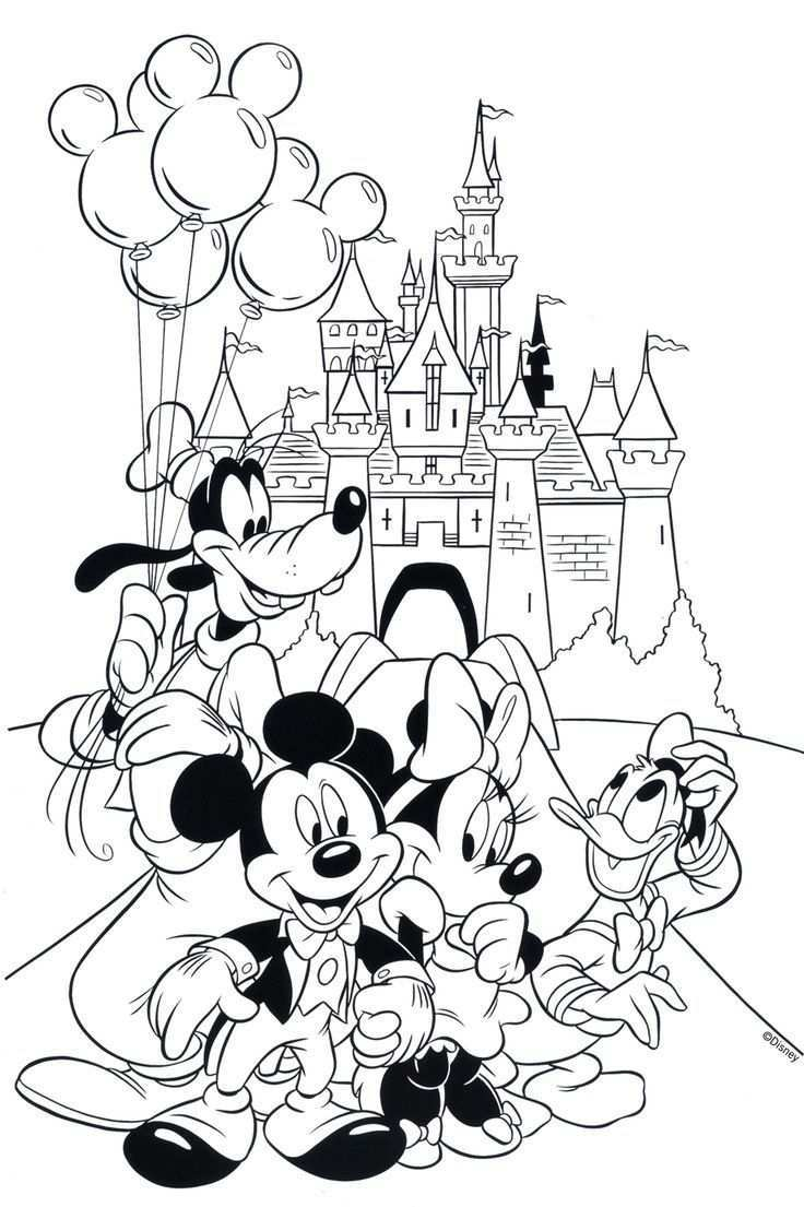 Free Disney Coloring Page Features Cinderella S Castle And All The Gang At Walt Disney Cartoon Coloring Pages Disney Coloring Pages Mickey Mouse Coloring Pages