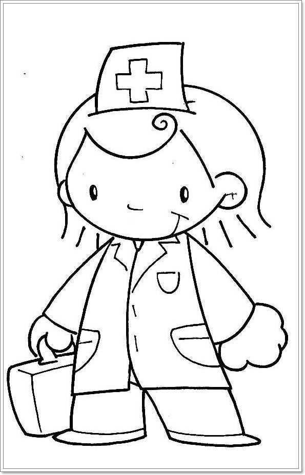 Kleurplaat Dokter Knutselen Thema Ziek Zijn Peuter Thema Thema