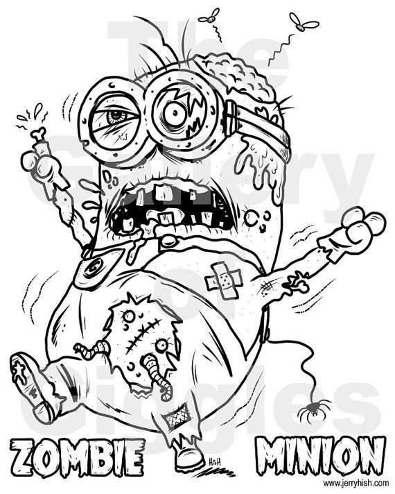 Zombie Minion Printable Colouring Page Cartoon Coloring Pages Minion Coloring Pages Halloween Coloring Pages